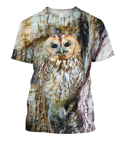 3D All Over Print Owl Shirts