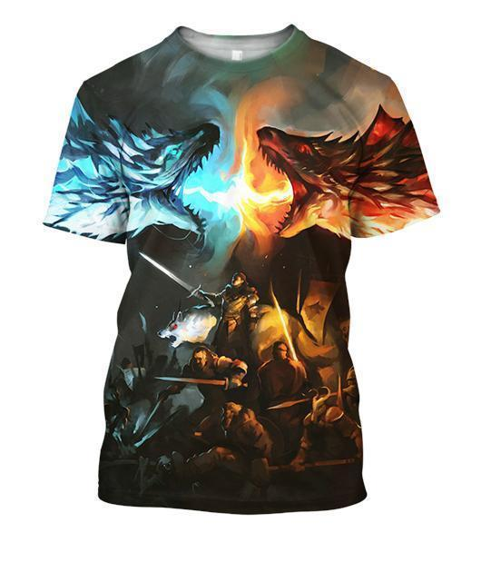3D All Over Print Dragon Shirt Fire Ice