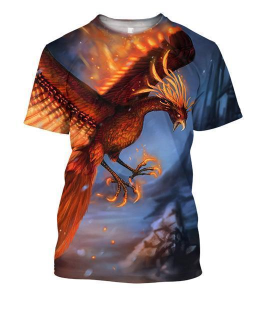 3D All Over Printing Fire Phoenix Shirts