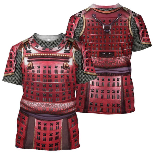 3D All Over Printed Samurai Red Armor Set Shirts and Shorts