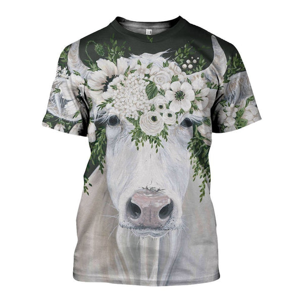 3D All Over Printed Dairy Cattle Beautiful Art Shirts and Shorts