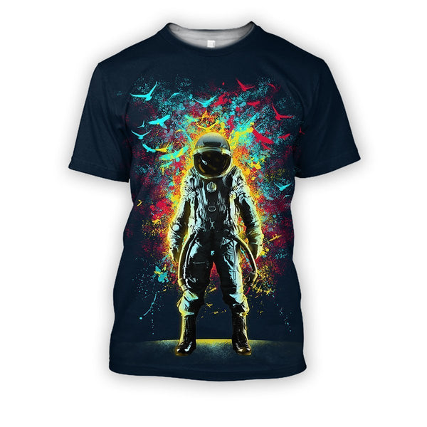 3D all over print black astronaut in the space