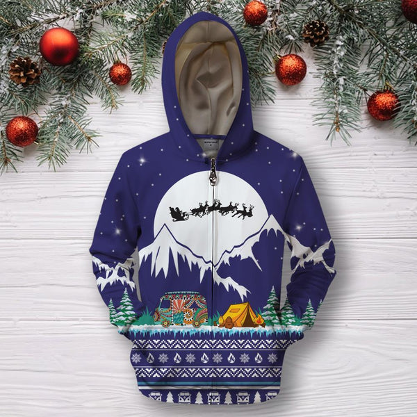 3D All Over Print Camping Christmas Hoodie