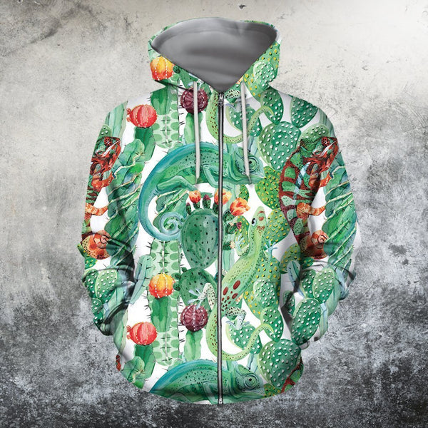 3D All Over Printed Cactus And Gecko Shirts