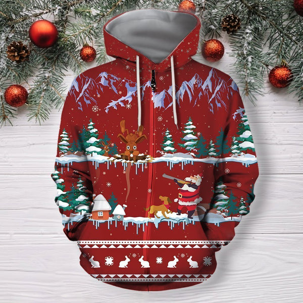 3D All Over Print Red Rabbit Hunting Hoodie