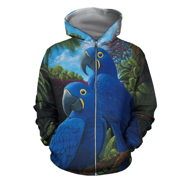 3D All Over Print Blue Parrot Love Hoodie