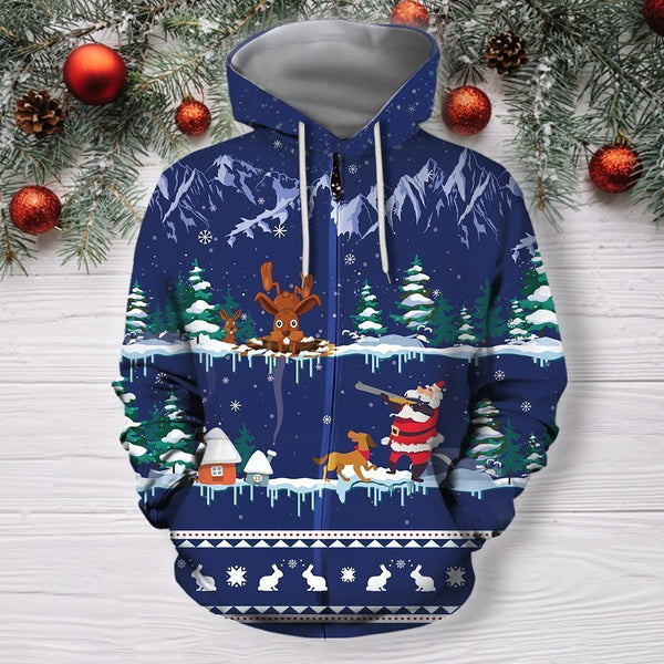 3D All Over Print Blue Rabbit Hunting Hoodie