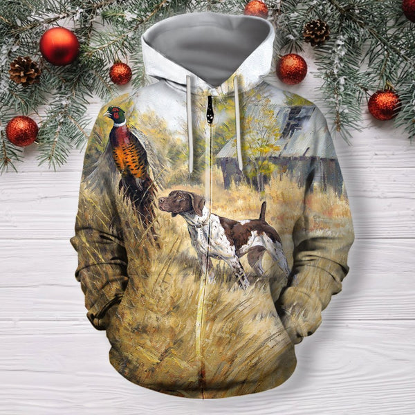 3D All Over Print 3 Hunting Dog Pheasant Hoodie