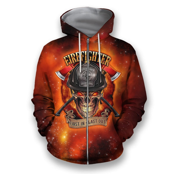 3D all over print firefighter hoodie