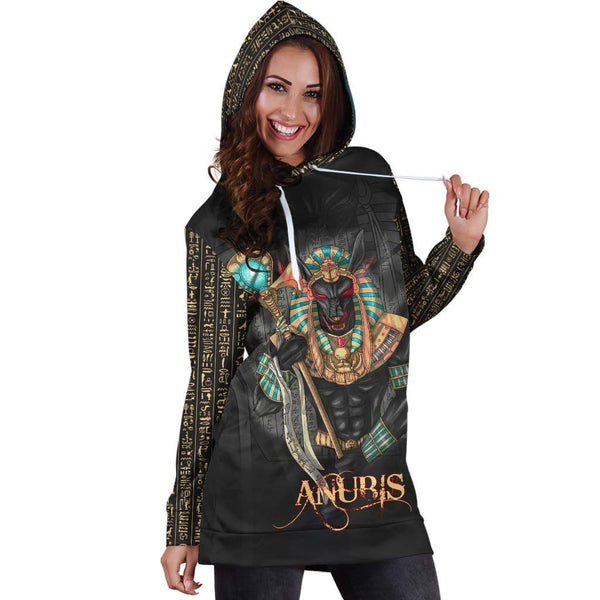 All Over Printed Anubis Hoodie Dress H219B