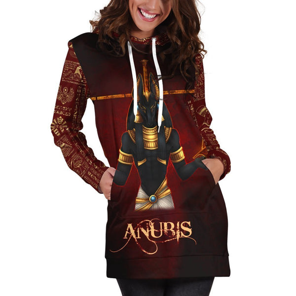All Over Printed Anubis Hoodie Dress H330B