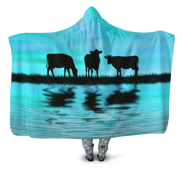 Sunset and Cow Blue Backgroud Hoodie Blanket