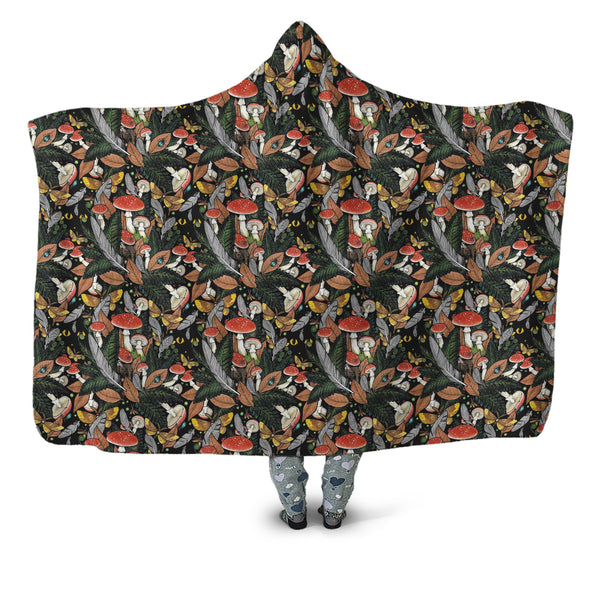 Beautiful Forest Mushroom Hooded Blanket