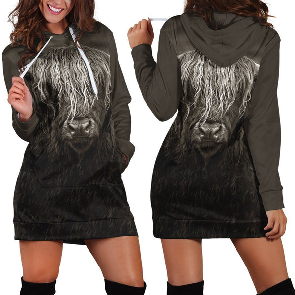 3D All Over Printed Cow Has Long Horns Hoodie Dress
