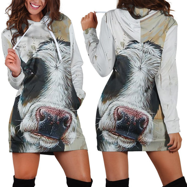Cow Kids Cute Hoodie Dress