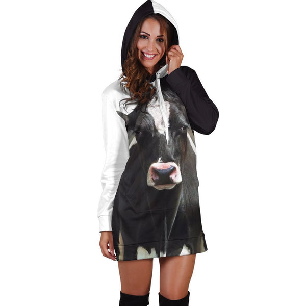 Beautiful Cow Farmer Hoodie Dress