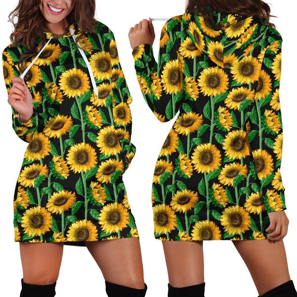 All Over Printing Sunflowers Hoodie Dress