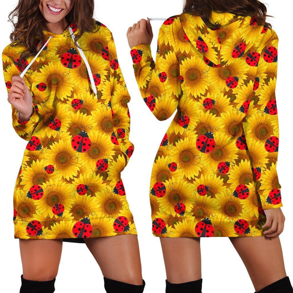 All Over Printing The Bug Sunflower Hoodie Dress