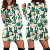 All Over Printing dark blue Cactus Hoodie Dress
