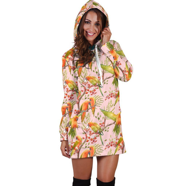 All Over Printing Sun Conure Parrot Hoodie Dress