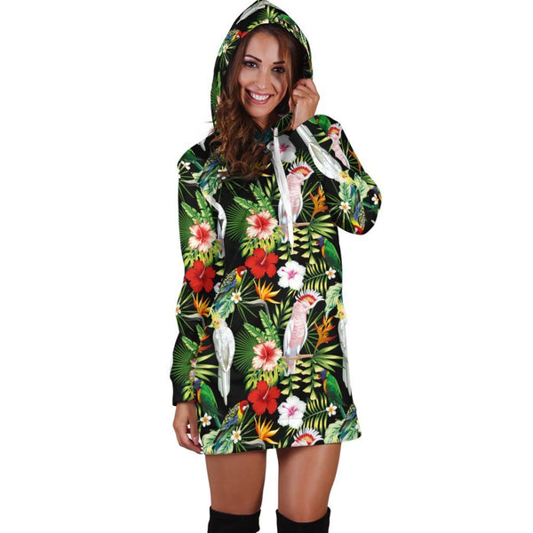 Major Mitchell's Cockatoo Parrot and Flower Hoodie Dress
