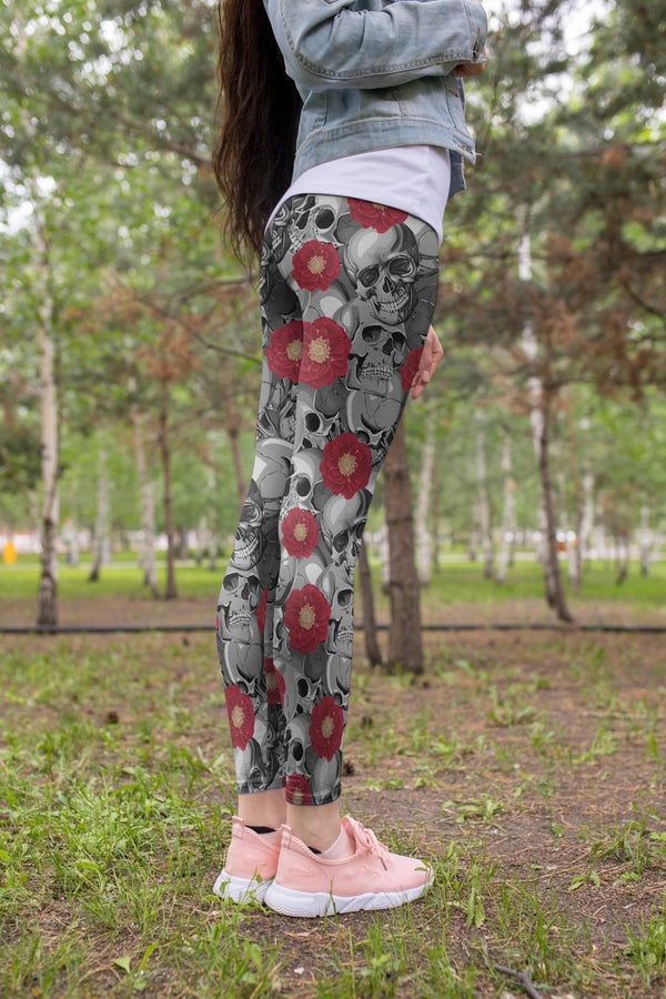 3D All Over Print  Skull silhouette and Rose Legging