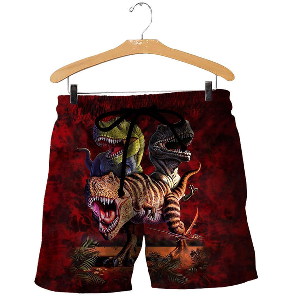 3D All Over Printed T-Rex Collage Shirts and Shorts