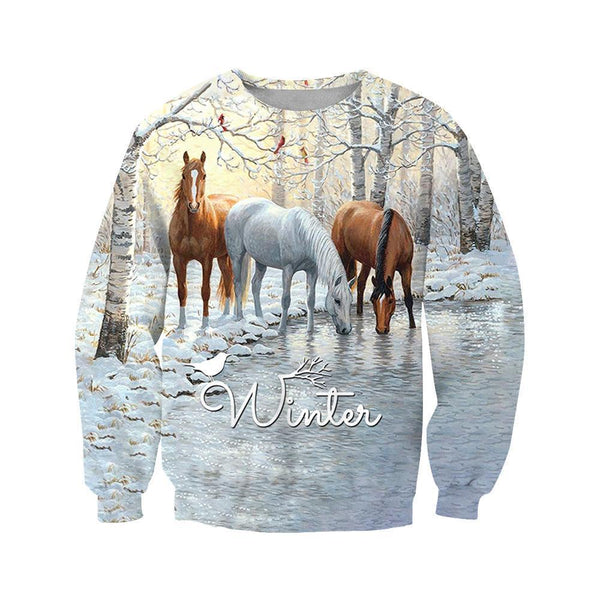 3D All Over Printed Winter Horses Shirts