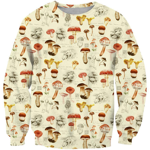 3D All Over Printing White Premium Mushroom Shirt