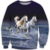 3D All Over Printing  White Horse Shirt