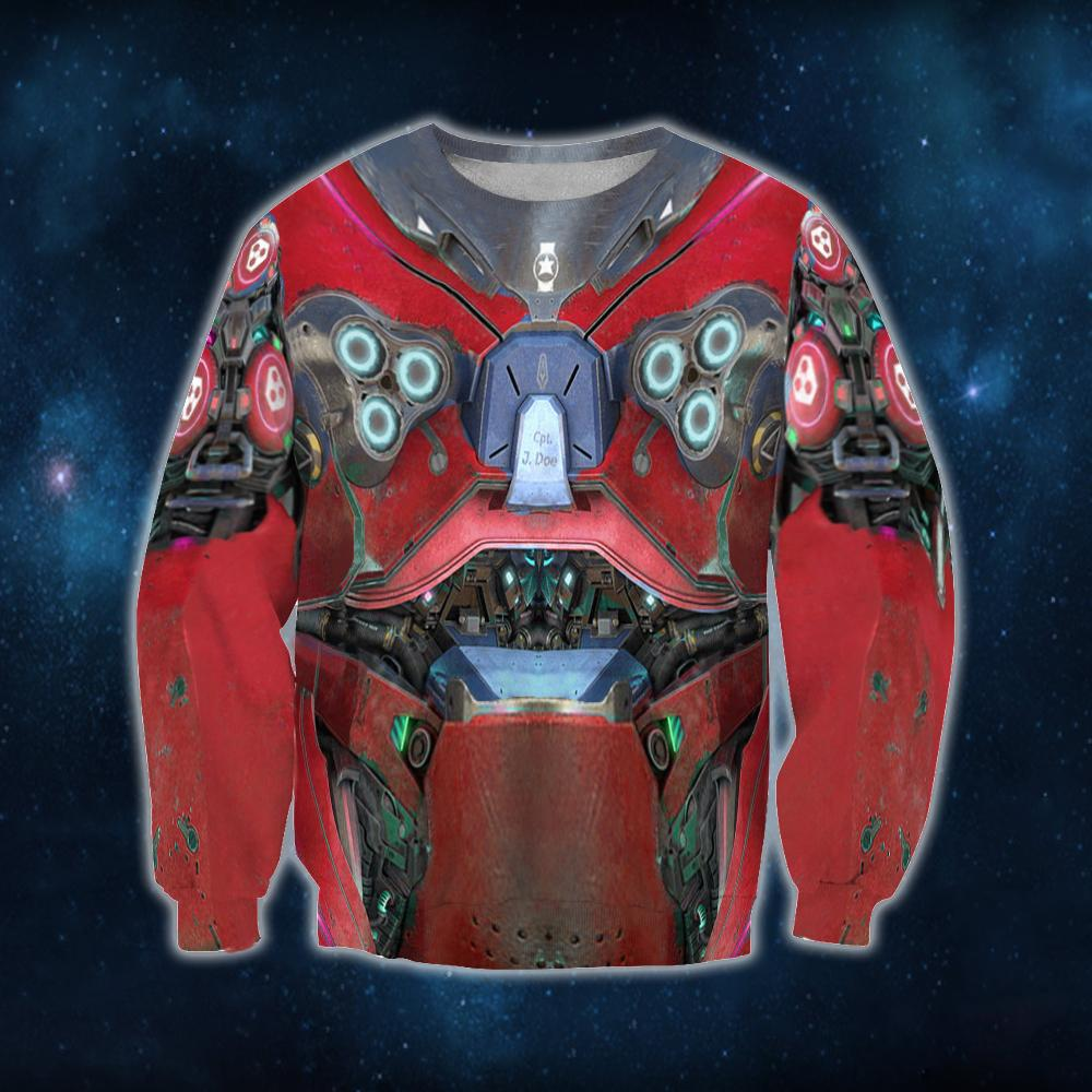 3D All Over Print Starcraft Marine Armor Red Hoodie