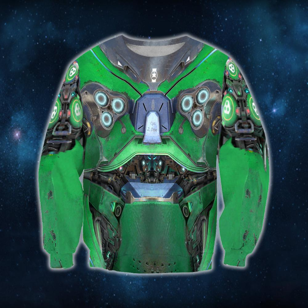 3D All Over Print Starcraft Marine Armor Green Hoodie
