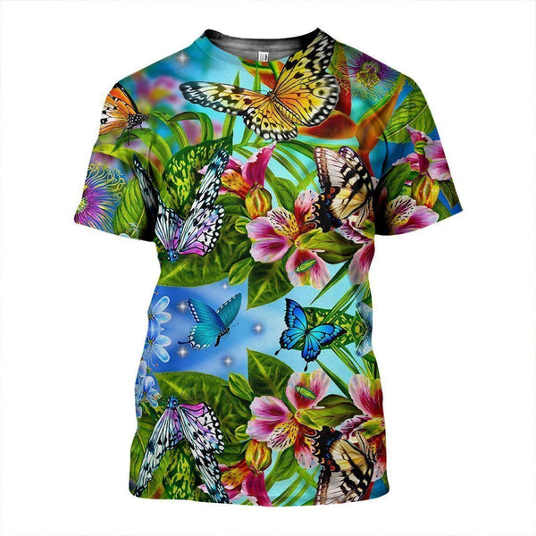 3D All Over Printed Flower Butterflies Shirts And Shorts