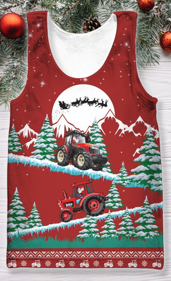 3D All Over Print Christmas Tractor Hoodie
