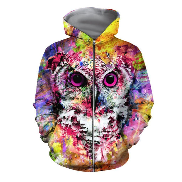 3D All Over Printed Colorful Owl Shirts and Shorts
