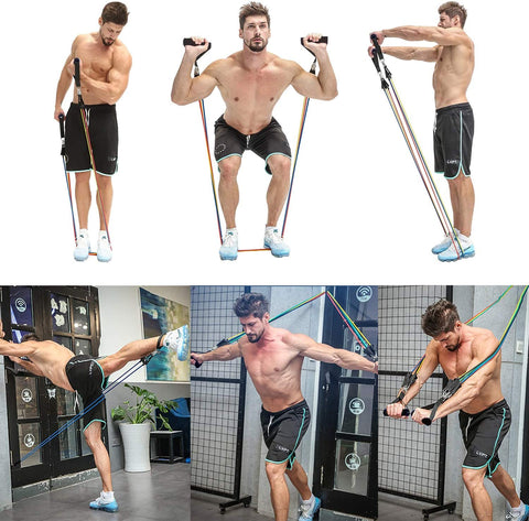 Home Gym Resistance Bands Set, with handles example | Revolutionize Fitness