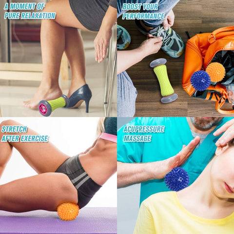 Massage Therapy Reflexology Spiky Balls and Foot Roller