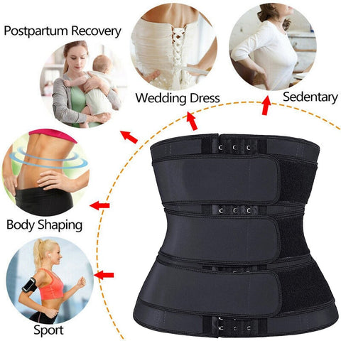 Waist Trainer Corset Sweat Belt with Three Straps and Hooks