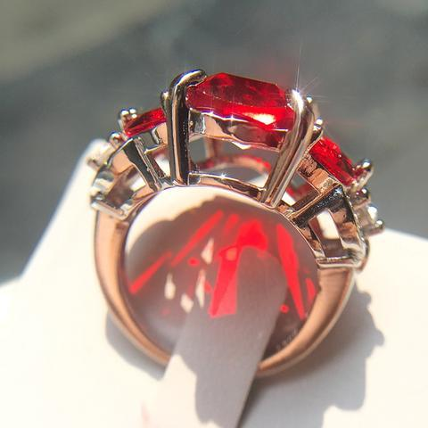Stamp Real 925 Sterling Silver Ring Big Red - geniesave