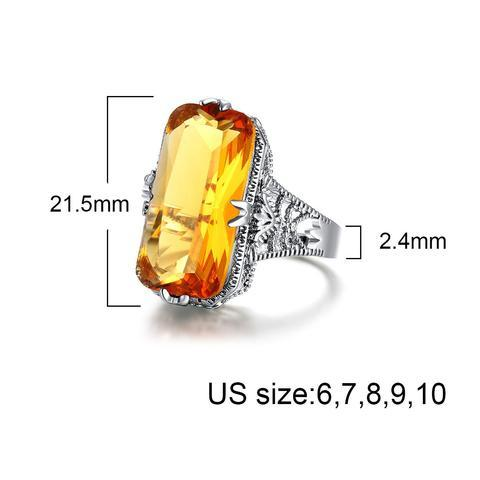 Square Yellow Crystal Ring - geniesave