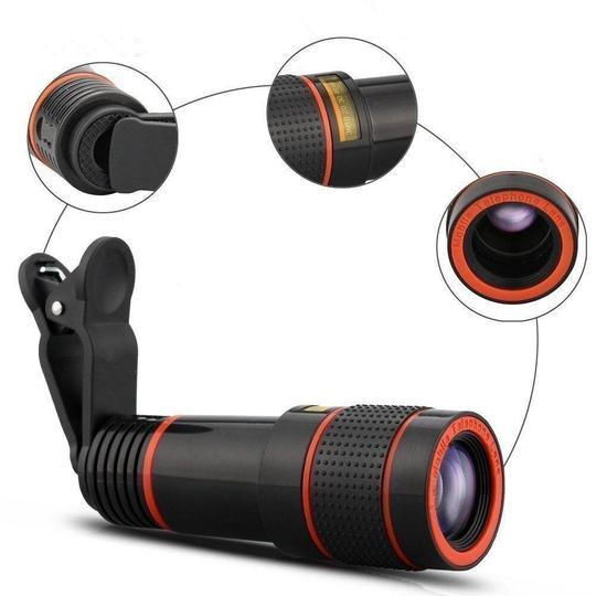 12X HD Zoom Lens Kit with Wide Angle Macro Lens, Universal Clip for Smartphones