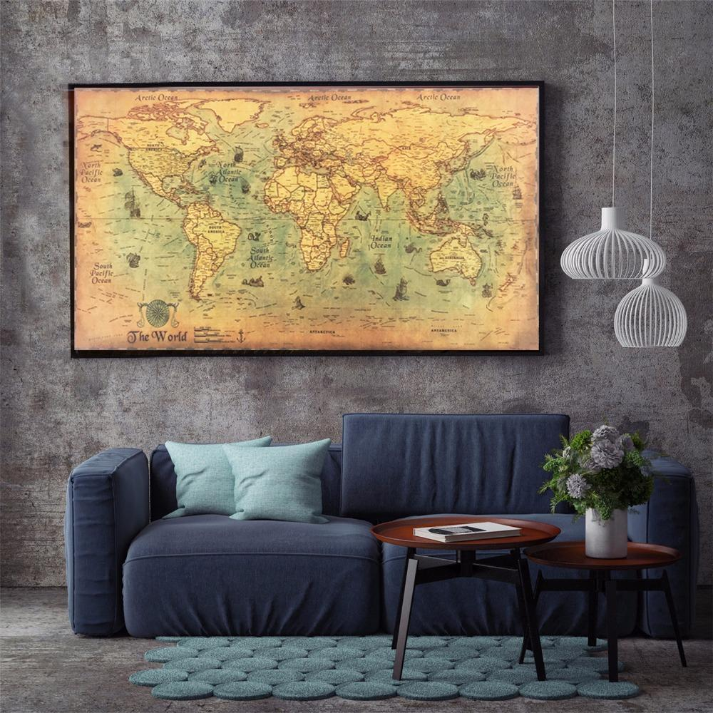 Onwijs Vintage Nautical World Map Poster - Geniesave LC-32