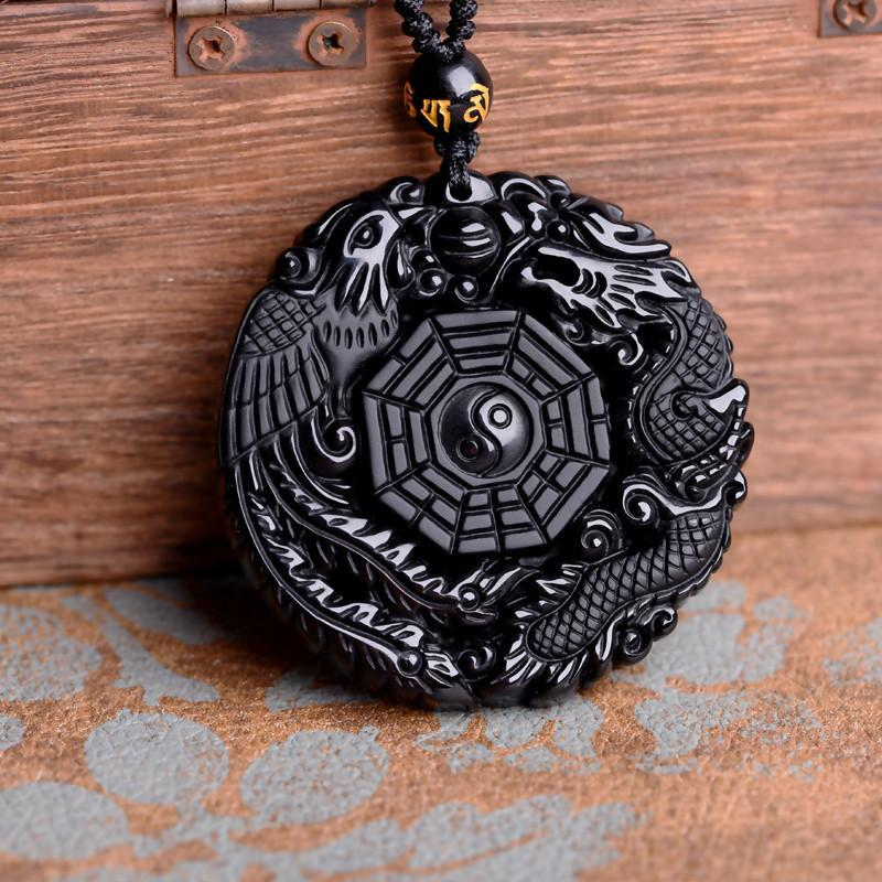 Volcanic Protective Obsidian Phoenix & Dragon Yin Yang Pendant Necklace - Hand Carved - geniesave