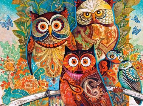 Abstract Owls - Easy-Artist Paint-By-Number Kit