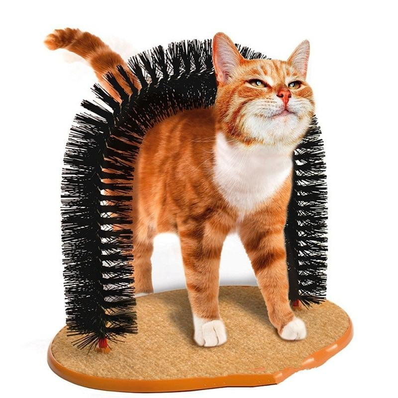 Good Arch Pet Cat Self Groomer With Round Fleece Base Cat Toy Brush Toys For Pets Scratching Devices - geniesave