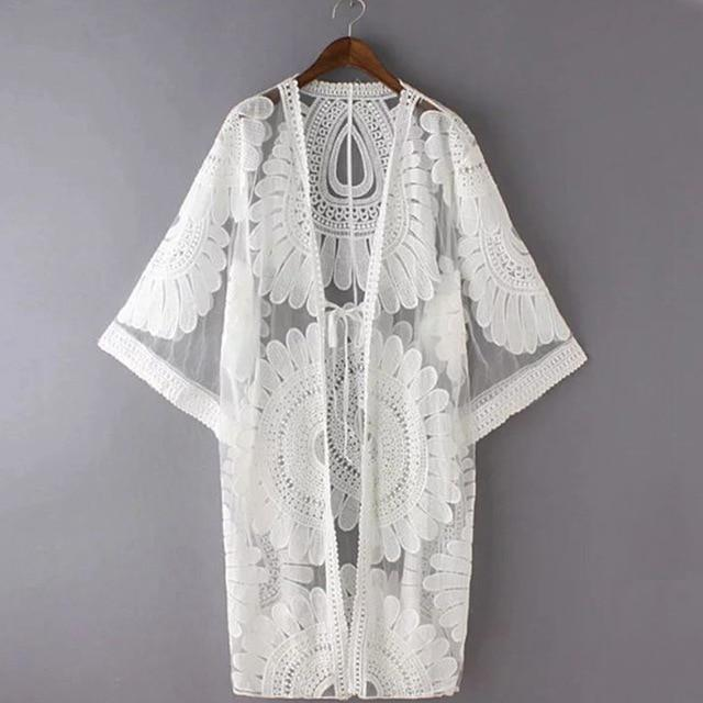 White Floral Beach Cover-Up - geniesave