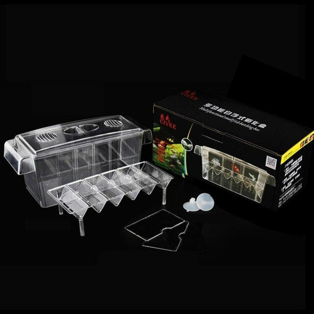 4 Rooms High Clear Fish Breeding Box Acrylic Aquarium Breeder Box Double Hatching Incubator
