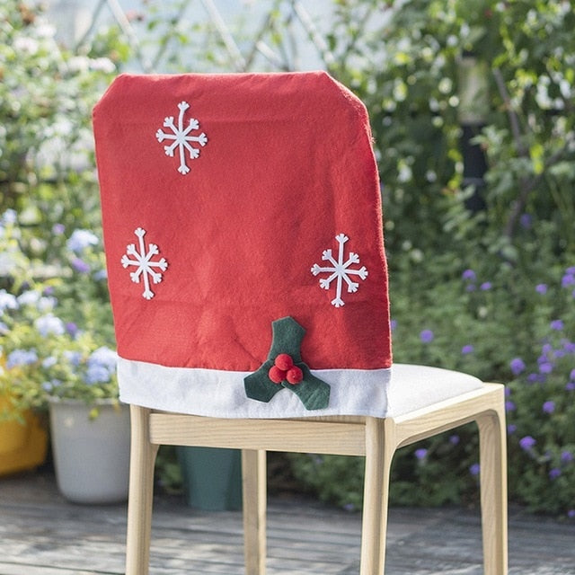 Xmas Red Hat Chair Back Cover *FREE SHIPPING*