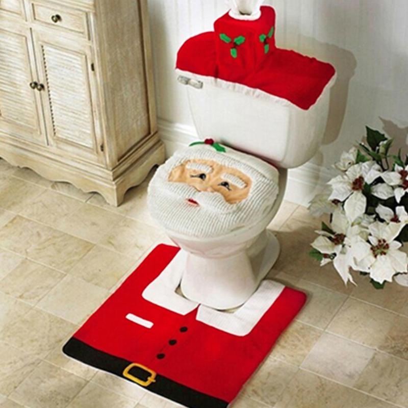 3pcs Santa Claus Or Snowman Rug Seat Bathroom Set Contour Rug