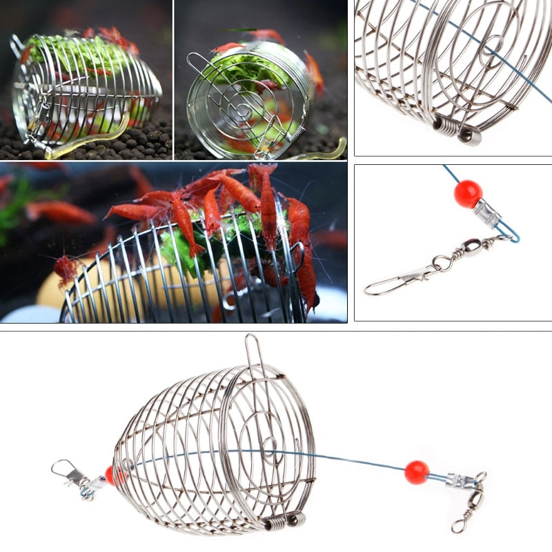 Aquarium Shrimp Small Bait Feeder Feeding Stainless Steel Cage S/L